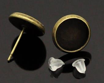 10 mm set of 20 blank earrings 20 cabochons + push