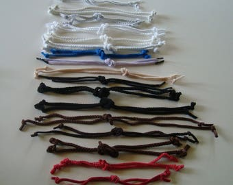 Set of 17 pairs various bag handles made of multicolored lace cord