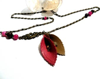 Headband/necklace flower of arum pink and Brown - Collection flowers of leather