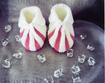 Baby bootees ribbed little bootees with turn down edge.