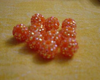 orange neon 14 mm 1 bead shambhala