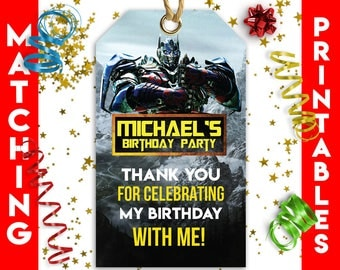 Transformers Party Supplies   Transformers Favor Bag Tags   Transformers Birthday Decorations   Transformers Printable Party Decoration