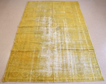 """Vintage Overdyed Turkish Rug, Handmade, Yellow, 5 feet 9 inches by 9 feet 2 inches (5'9""""x9'2"""")"""