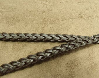 Ribbon basketweave - 0.7 cm - dark brown Leatherette