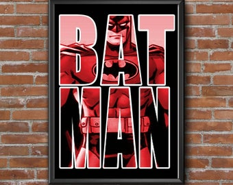 Batman 18 x 24 Poster, Black, Red, Decor, Instant Download, Digital