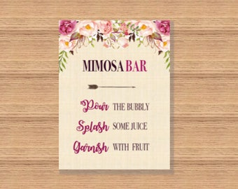 Mimosa Bar Sign Printable, Mimosa Bar Sign Bridal, Mimosa Bar Sign, Mimosa Bar Party