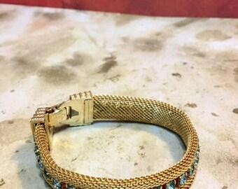 Vintage Gold Tone Mesh Bracelet Prong Set Blue Rhinestones