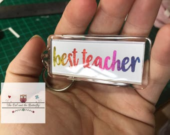 Personalised double sided foiled keyrings - 57mm x 22mm insert - lots of colours and fonts available