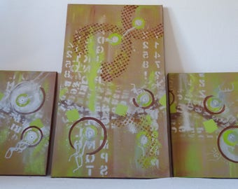"""Green, chocolate and silver abstract painting """"The jungle with the words"""""""