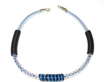 Necklace blue recycled pipes and wires