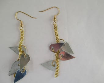 leather with gold chain earrings