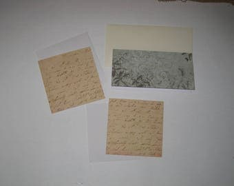 Set of cards and envelopes, scrapbooking, writing, butterfly and foliage