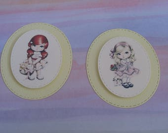 Embellishments, tags, pictures, raised 3D girl, dog, basket, scrapbooking