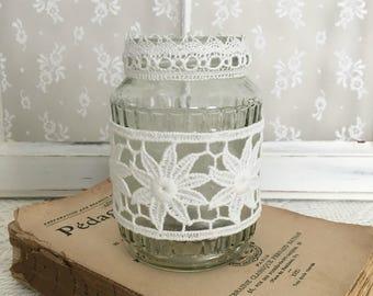 Lace candle holder or storage jar