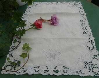 Doily embroidery richelieu and day old antique French lace doily, embroidery richelieur color blue doily, vintage placemat