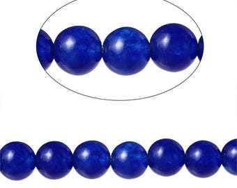 Set 90 Agate beads round 4 mm - SC71586-dark blue