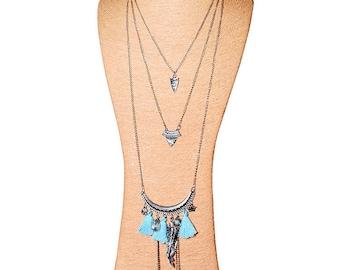 Beautiful long triple BOHO BOHEMIAN silver Turquoise - 80 cm -