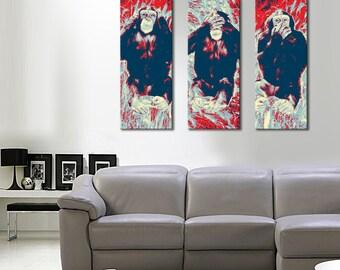 The pop art triptych wise monkeys panoramic 3 x (20 x 55)