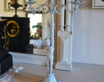 Shabby style candle holder candelabra old weathered gray