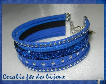 glitter leather Cuff Bracelet, suede sequined Sueded studded and starry tones marine