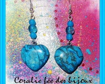 Earrings stones cracky and glass beads, natural blue agate