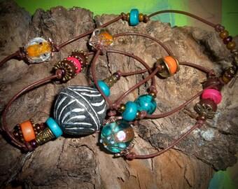 SHAMSHAMA necklace ethnic beads on leather lace