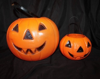 Vintage Pair of 1960's Lg Pointy Tooth JACK O LANTERN & Sm Square Tooth JOL Trick or Treat Pail