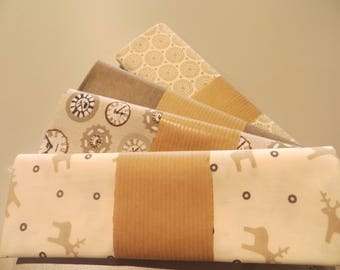four coupons 50 x 50 cm, ecru and beige 100% cotton fabric