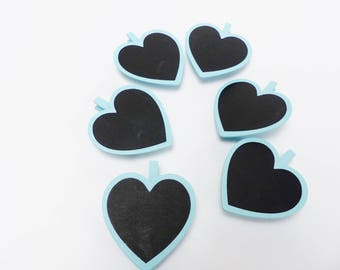 6 clothespins slate and wood heart 7 cm black and blue