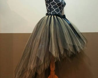HI-LO tutu skirt** Fairy tutu/ Fully LINED black gold Tutu/ Bee Tutu/ Adult tutu fairy cut edge (33 colors available)