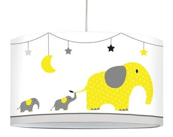 "Lamp ""Elephants"" - yellow and gray"