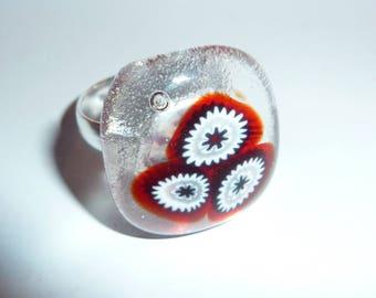 "Ring ""Chamonix"" fused glass, unique creation"