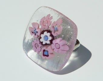 "Fused glass ring ""Sophia"""