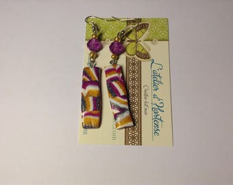 rectangular checkerboard earrings