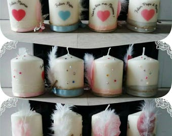Mini candles for a birth