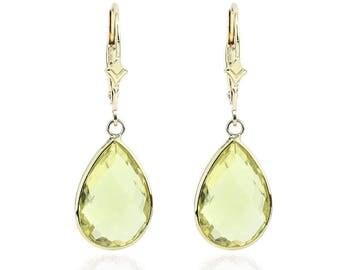 14K Yellow Gold Handmade Gemstone Earrings With Dangling Pear Shape Lemon Quartz