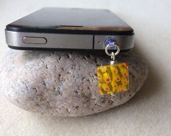 Yellow millefiori glass square dust plug phone tablet dangle charm Handmade