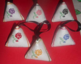 6 mini hand embroidered Lavender berlingots