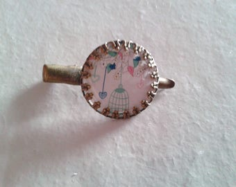 1 'blue bird - cage' cabochon - fancy hair clip