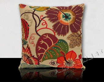 Botanical Garden Designer square cushion exotic multicolor flowers and leaves fuchsia-mustard/orange/green/purple/turquoise/yellow/red