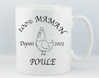 "Mug for coffee/chocolate/white ceramic ""Mother hen"" custom print StickMarquage Agen"