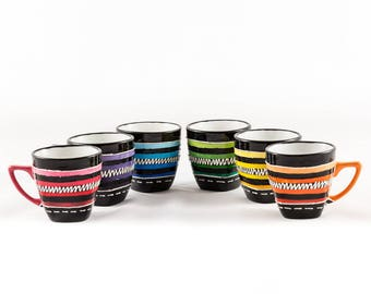 Set of 6 10 cl porcelain coffee cups hand painted different colors