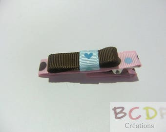 Pink hair clip with Brown bow