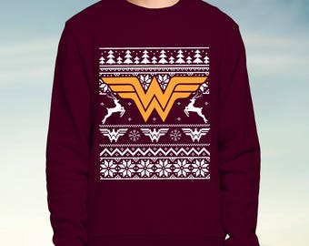 Dc Wonder Woman - Red Christmas Jumper / Sweatshirt