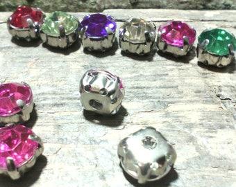 Set of 10 Pink Rhinestone /cabochons ☆ / 8 x 5 mm ☆