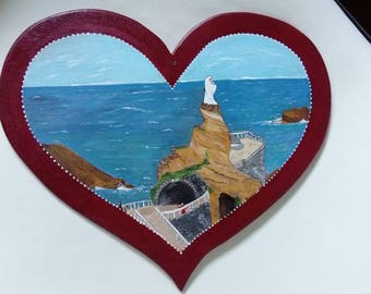 Heart welcome rock of the Virgin in Biarritz