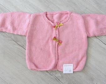 Cardigan hand knitted, Pink for girl - 12 months - spring 2017
