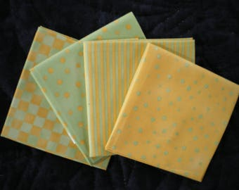 fat quarter set of 4, yellow and green