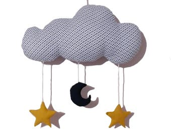 MUSICAL MOBILE CLOUD, STARS AND MOON-SHAPED TO LULL BABY