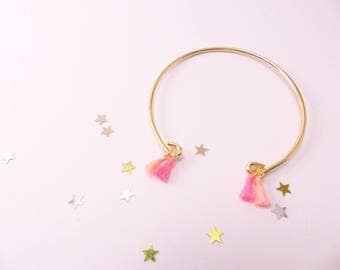 Bangle gold and mini PomPoms